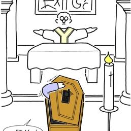 portable sur le cercueil