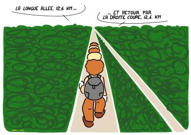 long path at https://gilscow.wordpress.com/2015/03/10/tout-droit-straight-on/