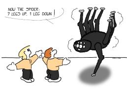 - L'araignée : 7 pattes en l'air, 1 patte au sol !