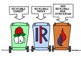 RECYCLABLE COMPOST – RECYCLABLE PAPER – NON RECYCLABLE, FOR VITRIFICATION https://gilscow.wordpress.com/2015/09/29/recyclage-recycling/