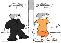 - Au revoir la bureaucracie de l'ESA ! - Bojour la bureaucracy des impôts !