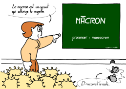 MĀCRON pronounce : maaaacron – The macron is an accent which makes the vowel longer. – And makes the rest shorter. https://gilscow.wordpress.com/2019/01/16/accent-macron-macron-accent/