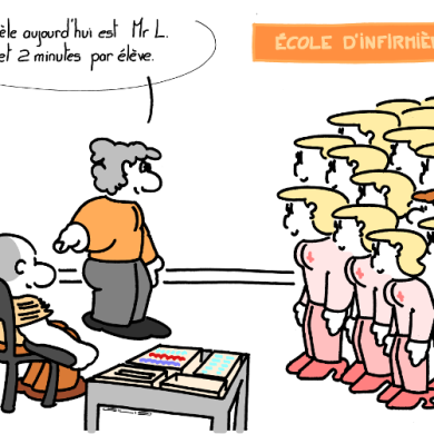 NURSE SCHOOL – Your model, today, is Mr L. 2 tubes and 2 minutes per student. https://gilscow.wordpress.com/2019/02/28/sans-peur-no-fear/